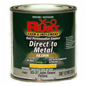 X-O Rust Brush-On Enamel, Gloss, Sunshine Yellow, Matches John Deere Yellow, 1/2-Pint - 776607
