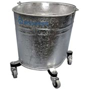 "Geerpres® 2103 Seaway® 26 Quart Galvanized Steel Oval Mop Bucket on 2"" Casters"