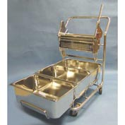 "Stainless Steel Trolley W/ 18"" Wringer And (3) 29-Quart Buckets - For Cleanrooms"