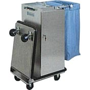 Genesis™ Stainless Steel Housekeeping Cart W/ Self Locking Door & Double Bucket Folding Tray