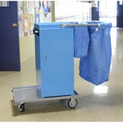 Genesis™ Powder Coated Microfiber Housekeeping Cart w/Double Bag Handle