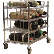 SCBA Mobile Bottle Cart, Four Shelf Levels, Holds 16 Bottles, Chrome