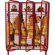 "Red Rack™ Freestanding Gear Storage Locker, Single Sided, (3) 24"" Sections w/Security Opt.,Red"
