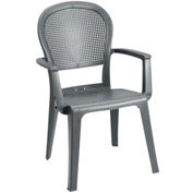 Grosfillex® Seville Highback Outdoor Armchair - Charcoal (Sold in Pk. Qty 16) - Pkg Qty 16