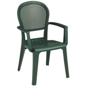 Grosfillex® Seville Highback Outdoor Armchair - Metal Green (Sold in Pk. Qty 16) - Pkg Qty 16