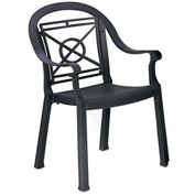 Grosfillex® Victoria Dining Outdoor Armchair - Charcoal (Sold in Pk. Qty 12) - Pkg Qty 12