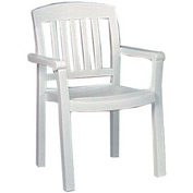 Grosfillex® Atlantic Dining Outdoor Armchair - White (Sold in Pk. Qty 12) - Pkg Qty 12