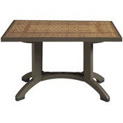Grosfillex® Havana 48x32 Pedestal Outdoor Table - Espresso