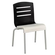 Grosfillex® Domino Chair, Black / White 4 Pack - Pkg Qty 4