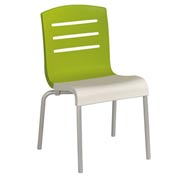 Grosfillex® Domino Chair, Fern Green / White 4 Pack - Pkg Qty 4