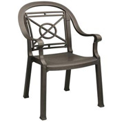 Grosfillex® Victoria Dining Outdoor Armchair - Bronze Mist (Sold in Pk. Qty 4) - Pkg Qty 4