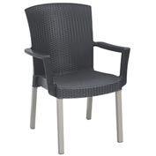 Grosfillex® Havana Classic Outdoor Armchair - Charcoal (Sold in Pk. Qty 4) - Pkg Qty 4