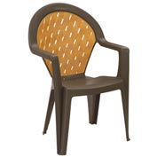Grosfillex® Amazona Highback Outdoor Armchair Bronze Mist (Sold in Pk. Qty 4) - Pkg Qty 4