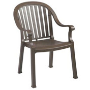 Grosfillex® Colombo Dining Outdoor Armchair - Bronze Mist (Sold in Pk. Qty 4) - Pkg Qty 4