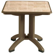 Grosfillex® Siena 32 Square Folding Outdoor Table - Bronze Mist - Pkg Qty 2