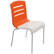Grosfillex® Domino Chair, Orange / White 12 Pack - Pkg Qty 12