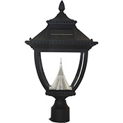 Gama Sonic 104012 Pagoda Solar LED Outdoor Post Light, 3-Inch-Diameter Mount, Black