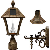 Gama Sonic 106333 Baytown Solar LED Outdoor Light, Post/Wall Mount, Weathered Bronze