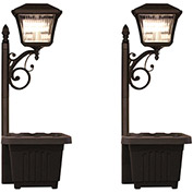 Gama Sonic 111201 Plantern Solar LED Outdoor Path Light, Black, Set of 2