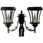 "Gama Sonic GS-94F2 Victorian Solar Lamp - Double Lamp - 3"" Fitter Mount - Black"