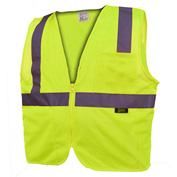 GSS Safety 1001 Standard Class 2 Mesh Zipper Safety Vest, Lime, Large