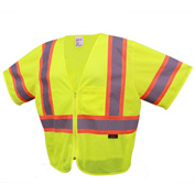 GSS Safety 2005 Standard Class 3 Two Tone Mesh Zipper Safety Vest, Lime, Large