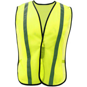 """GSS Safety 3001 Non-ANSI Economy Vest with 1""""W Stripe, Lime with Silver Stripe, One Size Fits All"""