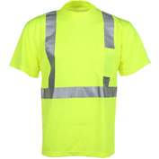 GSS Safety 5001 Class 2 Moisture Wicking Short Sleeve Safety T-Shirt with Chest Pocket, Lime, XL