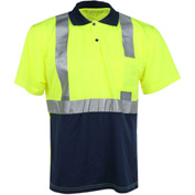 GSS Safety 5003 Class 2 Moisture Wicking Polo Shirt, Navy/Lime, Large