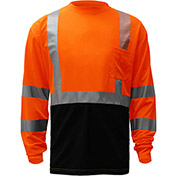 GSS Safety 5114, Class 3, Microfiber Birdseye Long Sleeve T-Shirt W/ Black Bottom, Orange, L Tall