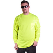 GSS Safety 5503 Moisture Wicking Long Sleeve Safety T-Shirt with Chest Pocket, Lime, Medium