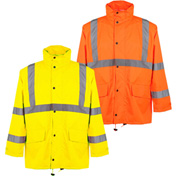 GSS Safety 6001 Class 3 Rain Coat with 2 Patch Pockets, Lime, L/XL