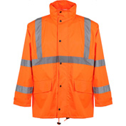 GSS Safety 6002 Class 3 Rain Coat with 2 Patch Pockets, Orange, 4XL/5XL
