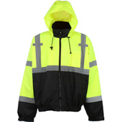 GSS Safety 6003 Class 3 Premium Hooded Rain Coat, Lime with Black Bottom, L/XL