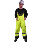 GSS Safety 6805 Class E Premium Bibs 2 Side Pockets 1 Cargo Pocket, Lime, L/XL