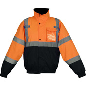 GSS Safety 8002 Class 3 Waterproof Quilt-Lined Bomber Jacket, Orange/Black, Large