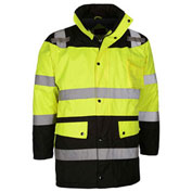 GSS Safety Hi-Visibility Class 3 Waterproof Parka Jacket W/Fleece Liner, Lime/Black, XL