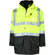 GSS Safety Hi-Visibility Class 3 7-In-1 All Seasons Waterproof & Breathable Jacket, Lime/Black, 2XL