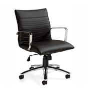 Offices To Go™ Luxhide Mid Back Executive Chair, Black
