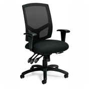 Global™ Offices To Go™ Mesh Back Multi-function Chair w/ Arms, Black