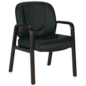 Offices To Go™ Luxhide Guest Chair with Wood Accents - Black