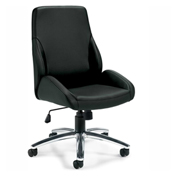 Global™ Offices To Go™ Specialty Luxhide Tilter Chair, Black
