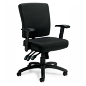 Offices To Go™ Multi-Function Fabric Chair w/ Arms, Black