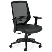 Offices To Go™ Mesh High Back Management Chair with Luxhide Seat - Black