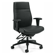 Global™ Offices To Go™ Luxhide Managers Multi-Tilter Chair, Black