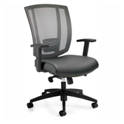Offices To Go™ Upholstered Seat & Mesh Back Synchro-Tilter, Black