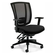Global™ Offices To Go™ Upholstered Seat & Mesh Back Multi-Function, Black