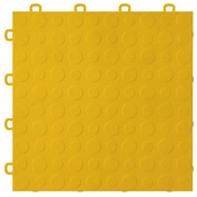 Block Tile B0US4430 Garage Flooring Interlocking Tiles, Coin Pattern, Yellow