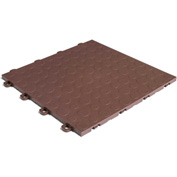 Block Tile B0US5230 Garage Flooring Interlocking Tiles, Coin Pattern, Brown