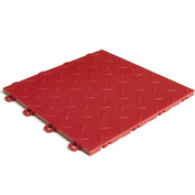 Block Tile B1US4327 Garage Flooring Interlocking Tiles, Diamond Pattern, Red